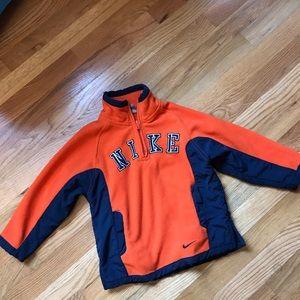 Kids Nike fleece half zip jacket orange blue
